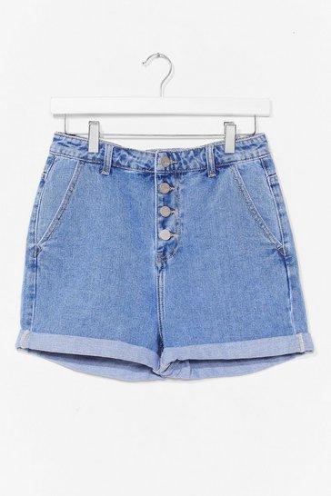 Blue Button Front Denim Shorts
