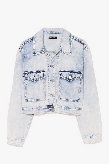 Blue Acid Wash This Space Cropped Denim Jacket