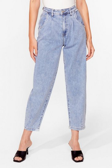 Blue Wash Me Work It High-Waisted Relaxed Jeans