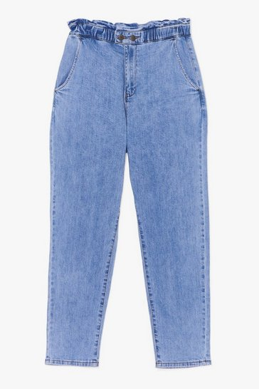 Blue No Time to Waist Paperbag Jeans
