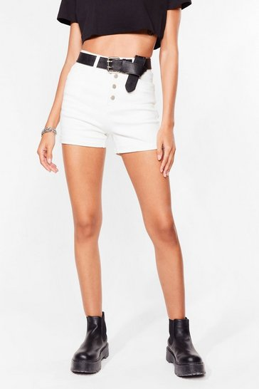 White I'm a Cool Mom High-Waisted Denim Shorts