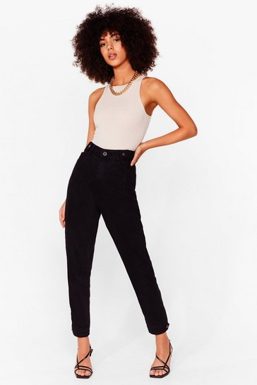 Black High Waisted Tapered Mom Jeans
