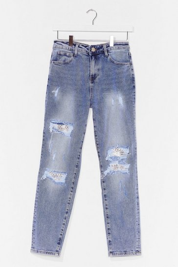 Blue Distressed Boyfriend Jean