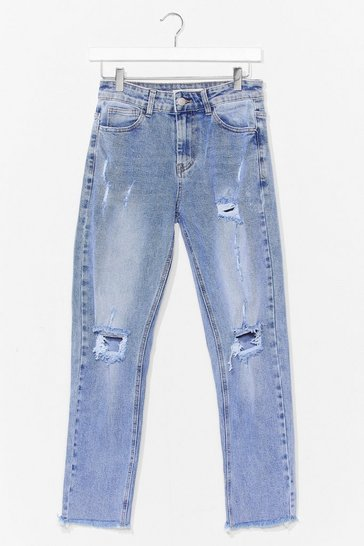Blue Distressed Acid Wash Mom Jeans