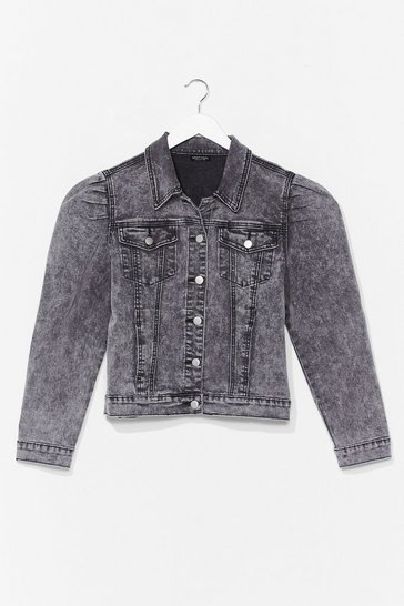 Grey Puff Shoulder Denim Jacket