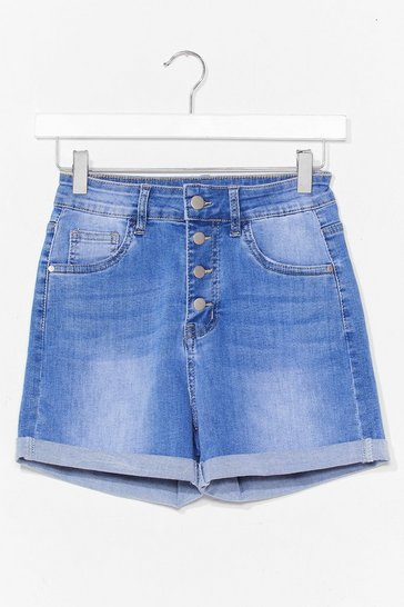 Blue Button Detail Mom Short