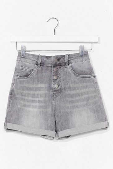 Grey Button Detail Mom Short