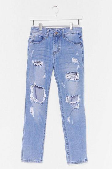 Blue Distress Foot Forward Slouch Jeans