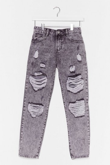 Grey Distressed Slouchy Jeans