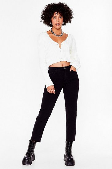 Black Wash Raw Hem Mom Jeans