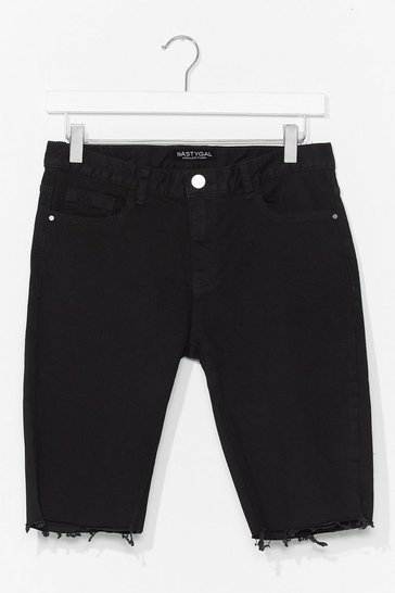 Black Frayed Denim Biker Shorts