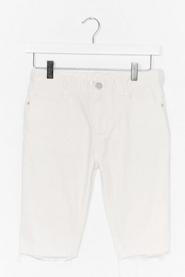 White Frayed Denim Biker Shorts