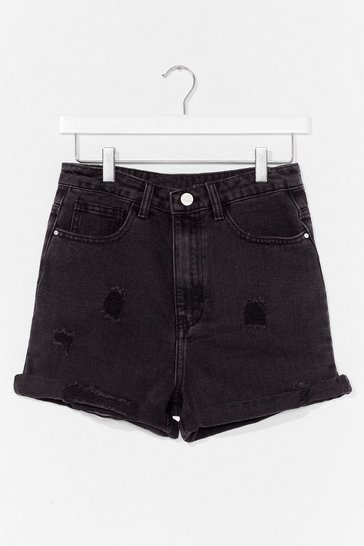 Black Distressed Ripped Denim Shorts