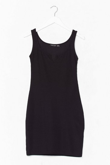 Black Notch Again Ribbed Mini Dress