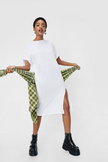 White Oversized Side Split Midi T-Shirt Dress