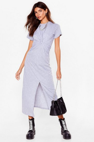 Grey Oops You Twist Tee Maxi Dress