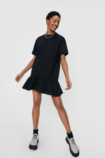 Black Drop Ruffle Hem T-Shirt Dress