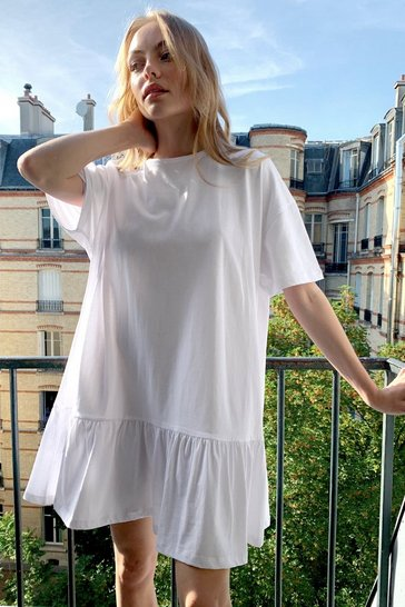 White Name Drop Tee Mini Dress