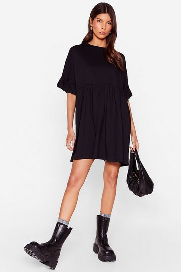 Black Ruffle Sleeve Oversized Smock Mini Dress