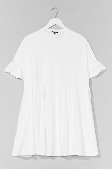 White Ruffle Sleeve Oversized Smock Mini Dress