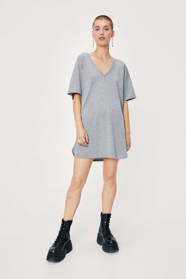 Grey Slouchy V Neck Mini T-Shirt Dress