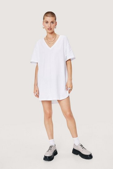 White Slouchy V Neck Mini T-Shirt Dress