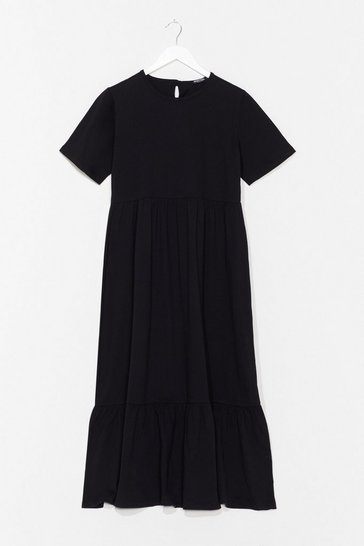 Black Flowy Tiered Midi T-Shirt Dress