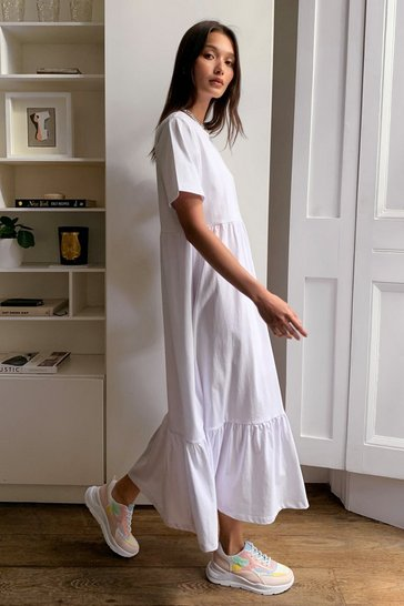 White These are Real Tiers Midi Tee Dress