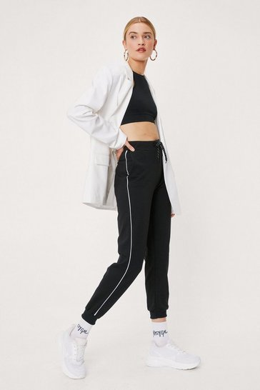 Black We're Stripe Here High-Waisted Joggers