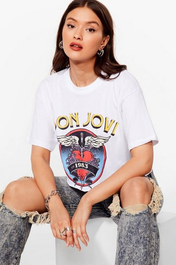 White Bon Jovi Cropped Graphic Band Tee