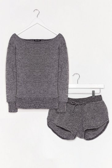 Charcoal Knit's Time for Change Short Lounge Set