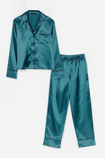 Emerald Straight to Sleek Satin Pajama Pants Set