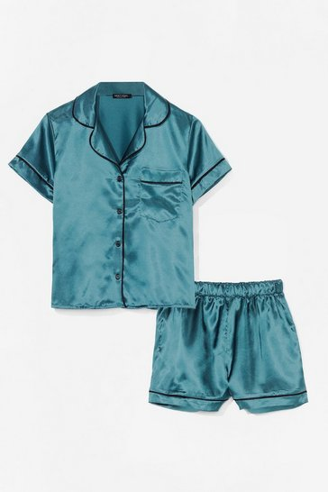 Emerald Straight to Sleek Satin Pyjama Shorts Set