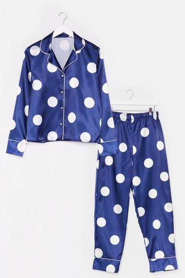Navy Polka Dot Satin Pajama Pants Set