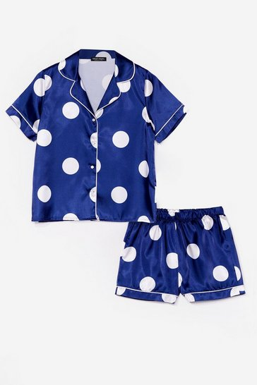 Navy My Spotlight Satin Shorts Pajama Set