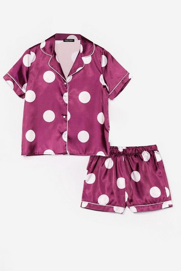 Plum My Spotlight Satin Shorts Pajama Set