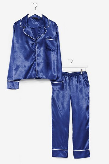 Navy For Sliding into Bed Satin Pants Pajama Set