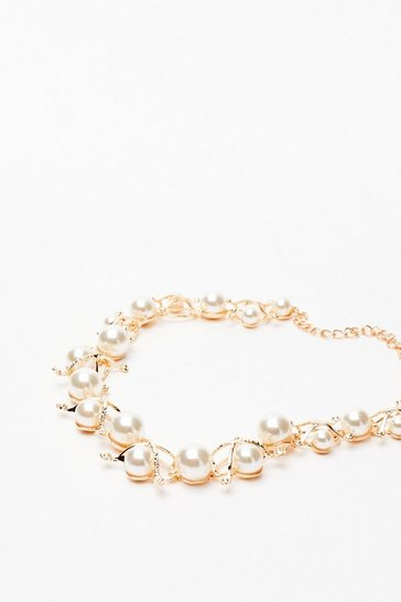 White Pearl's World Engraved Necklace