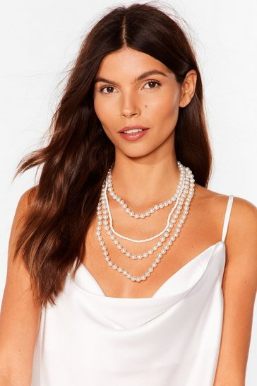 White Let's Go Pearls Layered Necklace