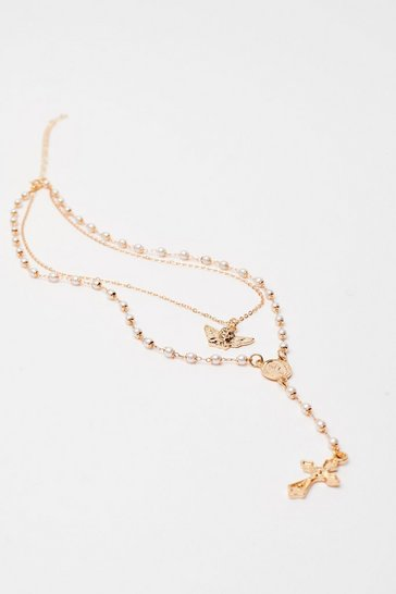 Gold Angel Cross Pearl Necklace