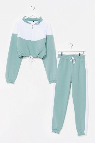 Mint Two Tone Crop Sweatshirt and Sweatpants Set