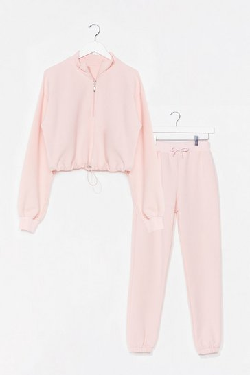 Pink Half Zip Crop Sweatshirt and Sweatpants Set