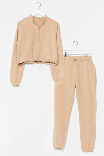 Sand Sweater Weather Cropped Sweatshirt and Joggers Set