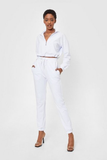 White Half Zip Crop Sweatshirt and Sweatpants Set
