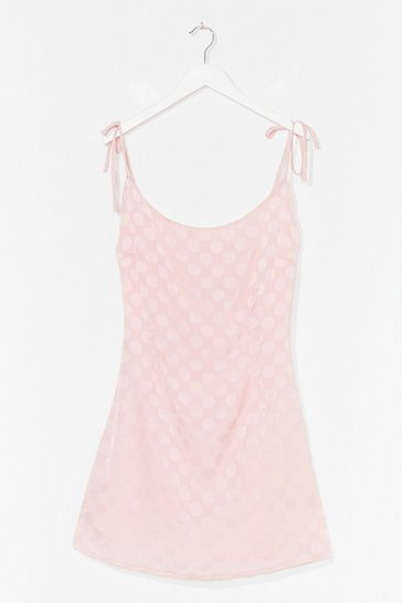Apricot Jacquard Polka Dot Mini Cami Dress