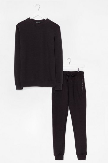 Black The Real You Sweater and Joggers Lounge Set