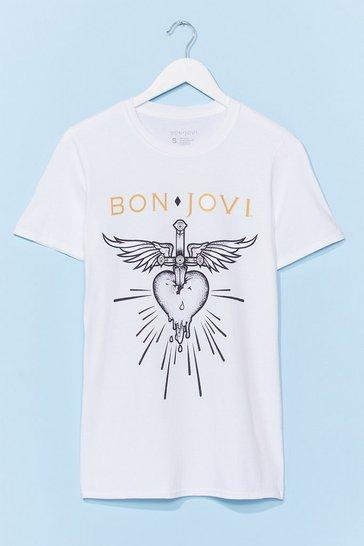 White Bon Jovi Heart Tee