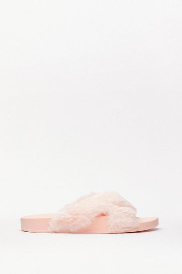 Blush Faux Fur Cross Strap Slippers