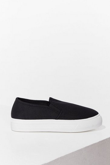 Black Canvas Slip On Plimsoll