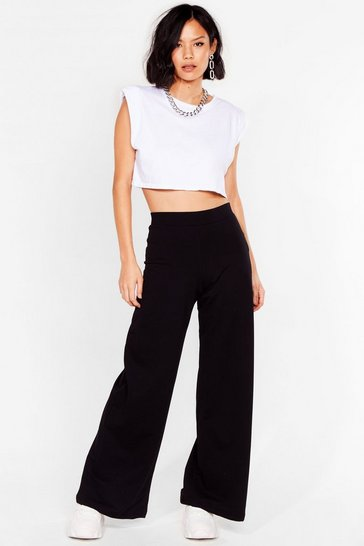 Black Take It in My Stride Wide-Leg Joggers